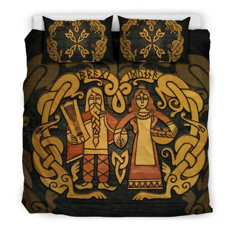 Viking Norse Mythology, Bragi And Idunna, viking bedding set, viking duvet cover