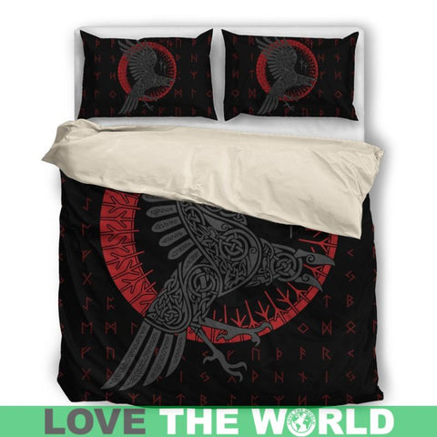 Viking Bedding Sets - Odin's Raven Old Runes Style