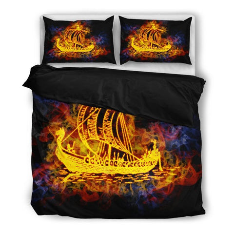 Viking Ship Bedding Set H4 Bedding Set - Black / Twin Sets
