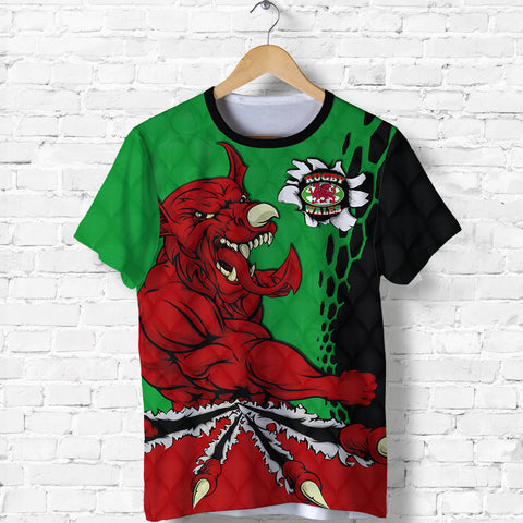 Wales Rugby T Shirt Welsh Dragon front - Wales Jersry Rugby