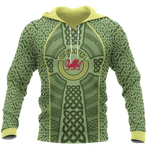 Welsh Dragon Celtic Unisex Hoodie - Front