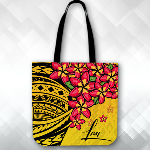 (Custom) Polynesian Plumeria Yellow Tote Bag Personal Signature A24