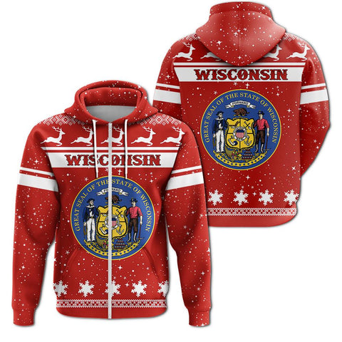 Christmas wisconsin Coat Of Arms Zip Hoodie