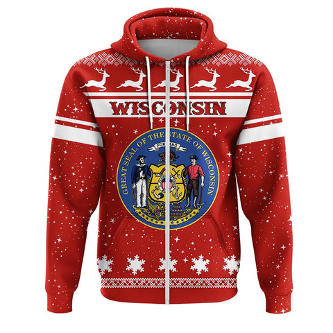 wisconsin Coat Of Arms Zip Hoodie