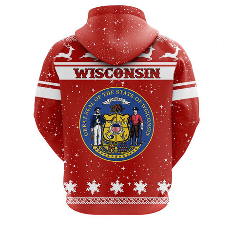 Image of wisconsin Christmass Zip Hoodie
