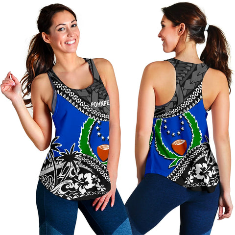 Pohnpei Women Racerback Tank Fall In The Wave 3