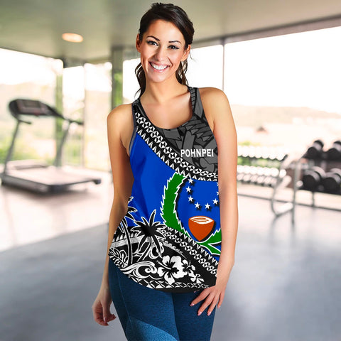 Image of Pohnpei Women Racerback Tank Fall In The Wave 4