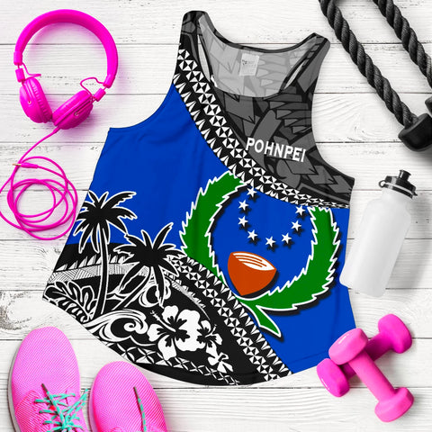 Pohnpei Women Racerback Tank Fall In The Wave 5