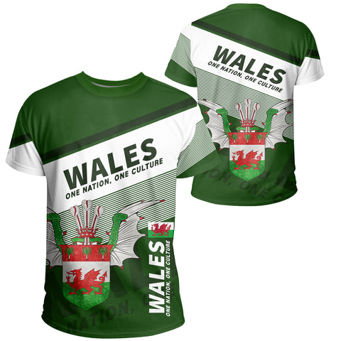 Image of Wales T-shirt Flag Motto Green - Limited Style