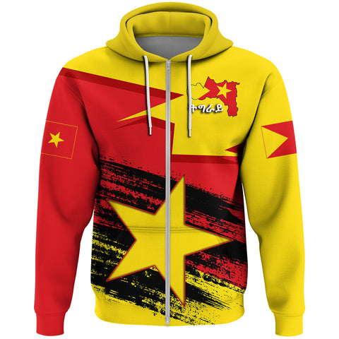 Image of Tigray Flag And Map Special Zip Hoodie A27