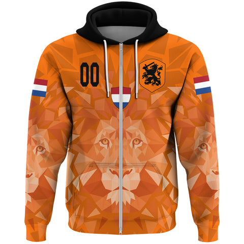 Image of (Custom) Netherlands Lion Zip Hoodie Euro Soccer A27