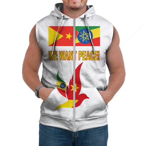 "Tigray and Ethiopia Flag ""We Want Peace!"" Sleeveless Hoodie A27"