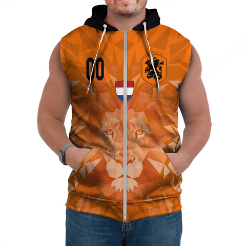 Image of (Custom) Netherlands Lion Sleeveless Hoodie Euro Soccer A27