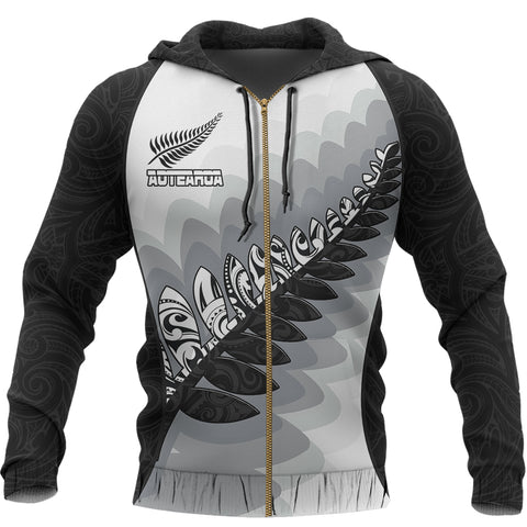 Aotearoa Maori Silver Fern Zip Hoodie | Clothing | Love the World