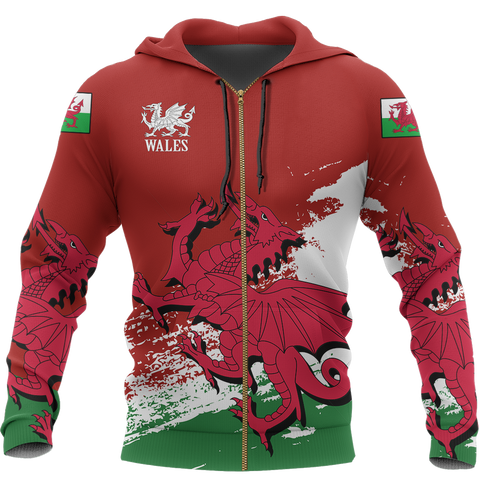 Wales Special Zip Hoodie | Special Custom Design | Hot Sale