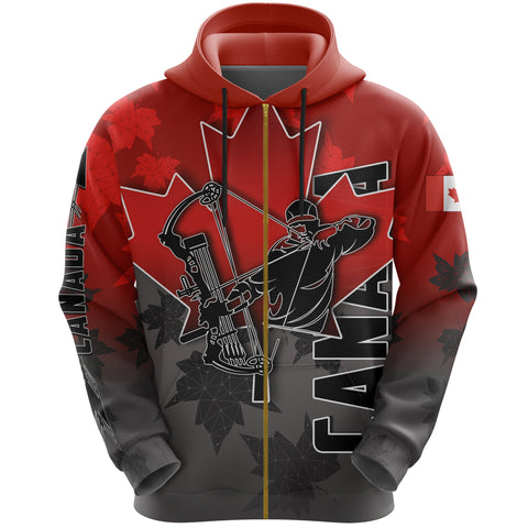 Canada All Over Zip-Hoodie Archery With Maple Leaf