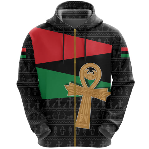 Pan African All Over Zip-Hoodie Flag With Ankh