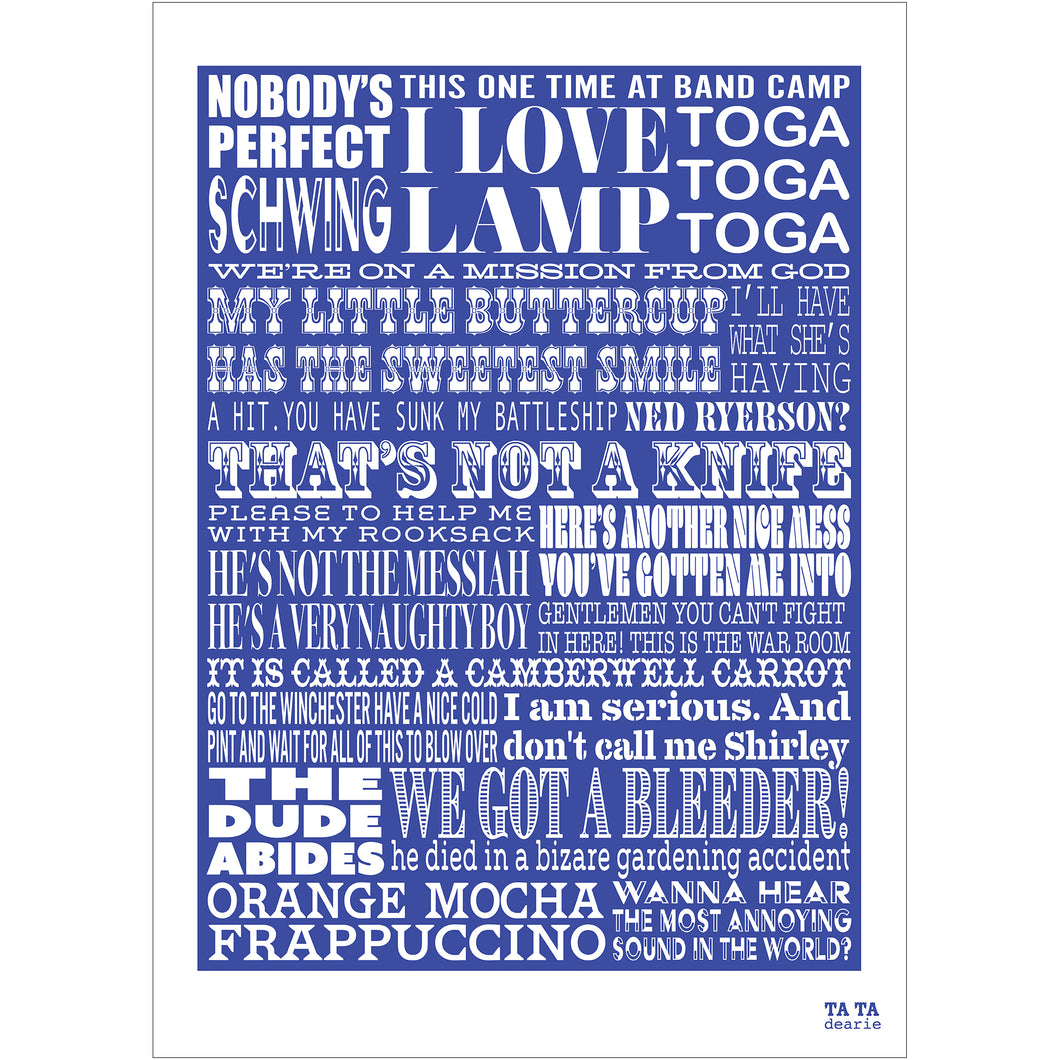 Comedy Film Quotes Typographic Art Print