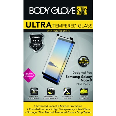 Body Glove Ultra Tempered Glass Screen Protector For Note 8-Black