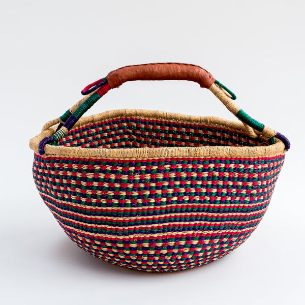 extra large colourful Ghanian bolga basket tilly and cub