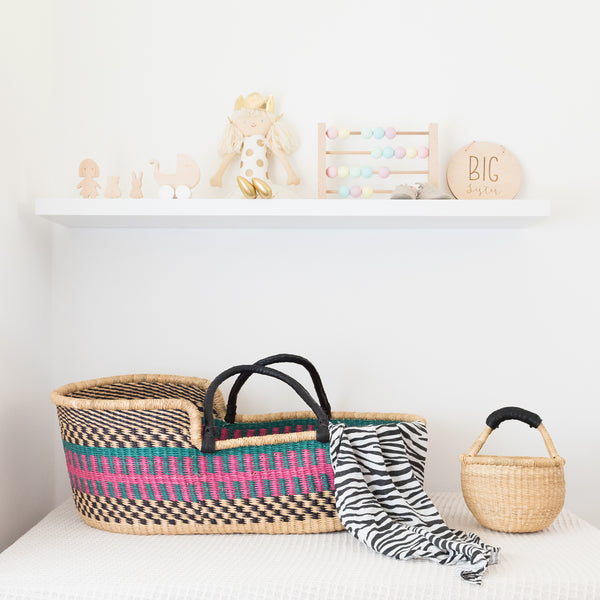 colourful bright moses basket