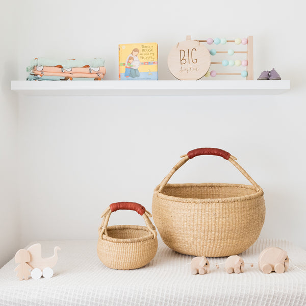 Mama Poppins Basket {Tan handle}