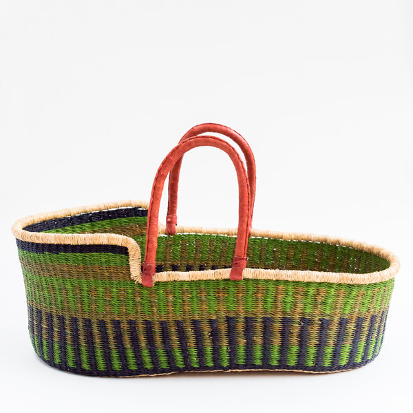 tilly and cub fair trade african moses basket  green