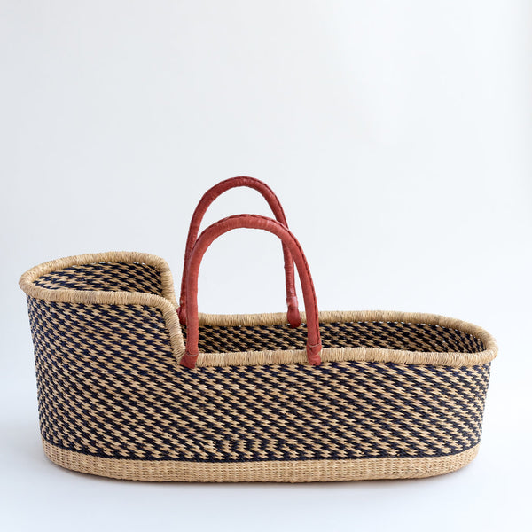 hand woven colourful moses basket tilly and cub monochrome