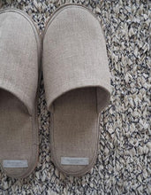 Linen Slippers with Leather Sole - Stone