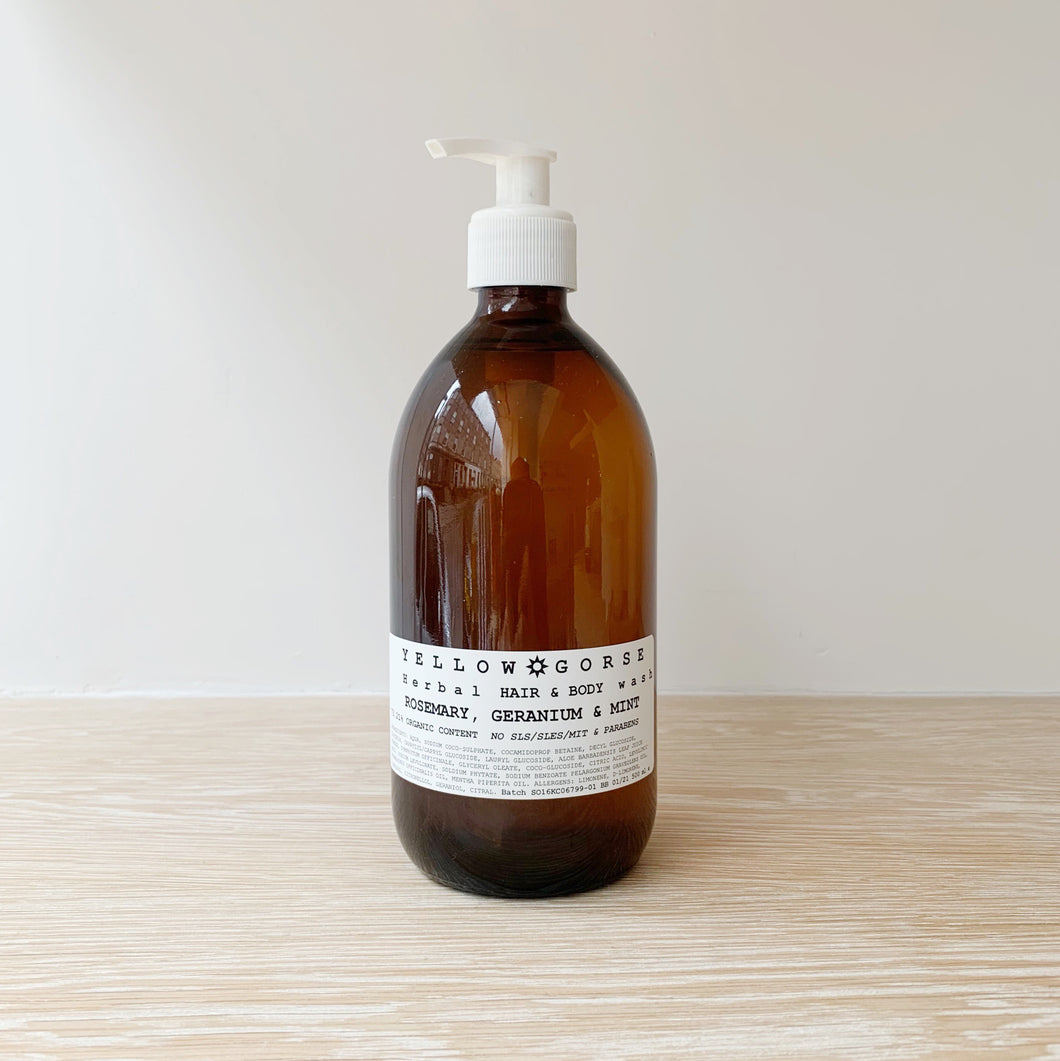 Organic Hair + Body Wash - Rosemary+Geranium+Mint