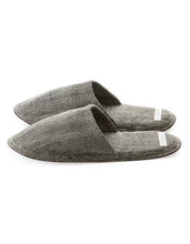 Linen Slippers with Leather Sole - Grey Herringbone