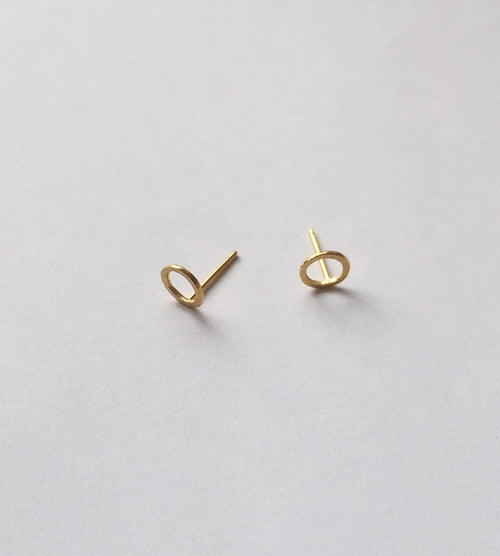 Gold Tiny Circle Earrings