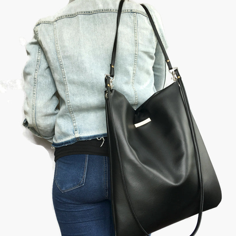 Emma Cross body & shoulder bag - Black Vegan Leather extra detail