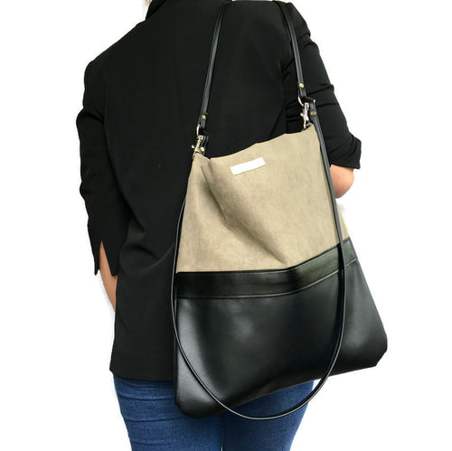 Emma Cross body & shoulder bag - Black Vegan Leather/ Suede Combo