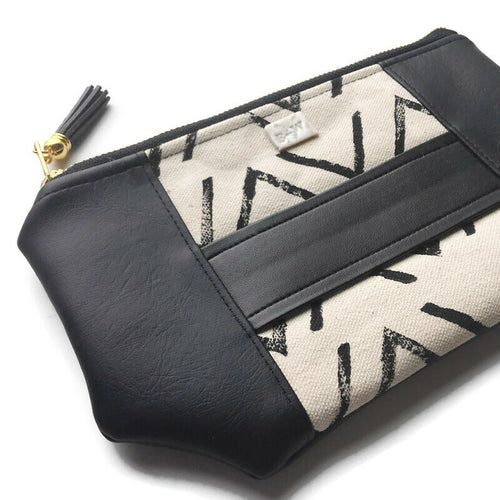 Mia Clutch - Chevron Print (grey tassel)