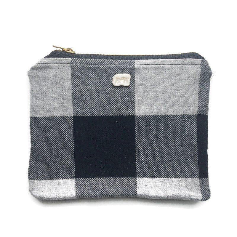 Carry All Mini Zipper Pouch - Grey Check