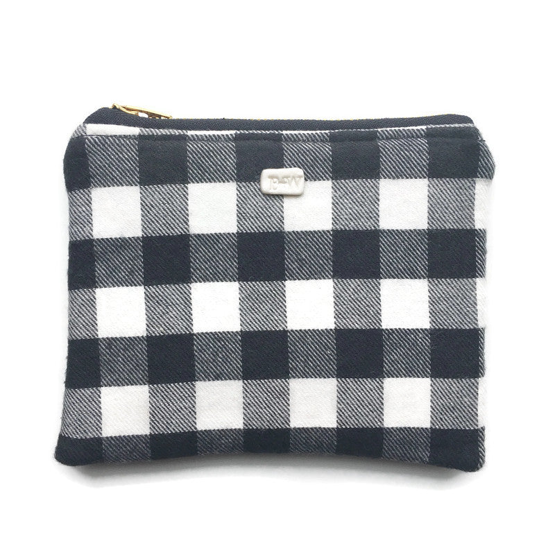 Carry All Mini Zipper Pouch - Black/ White Check