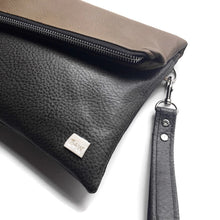 Gigi Mini Fold Over Clutch -  2 tone Steel + Brown