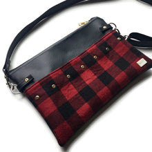 Lily Fanny Pack - Black vegan leather/ Red Check