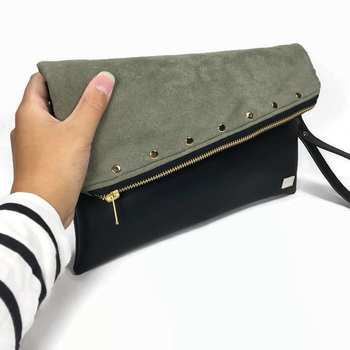 Gigi Fold Over Clutch - Green Vegan Suede