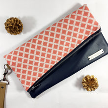 Gigi Fold Over Clutch - Coral Diamond Print