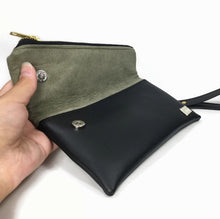 Gigi Mini Fold Over Clutch -  Green Vegan Suede