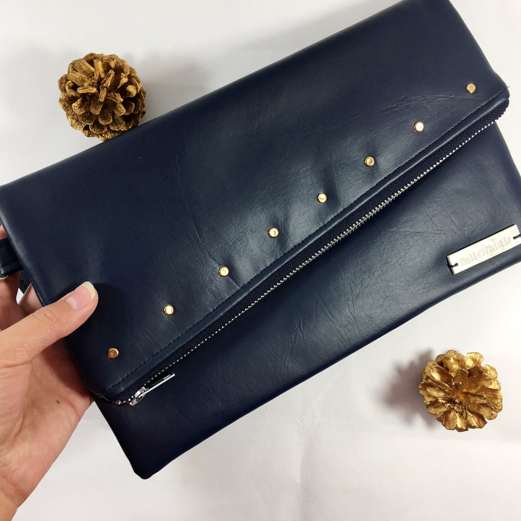Gigi Fold Over Clutch - Navy Studded