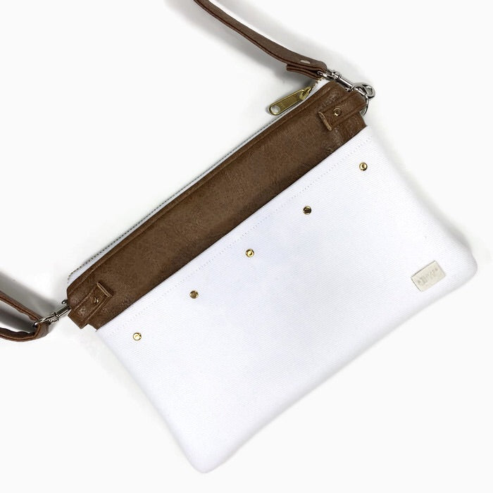 Lily Fanny Pack - White & Cocoa Vegan Leather