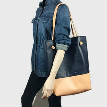 Kate - The Everything Tote - Navy With Peach Bottom