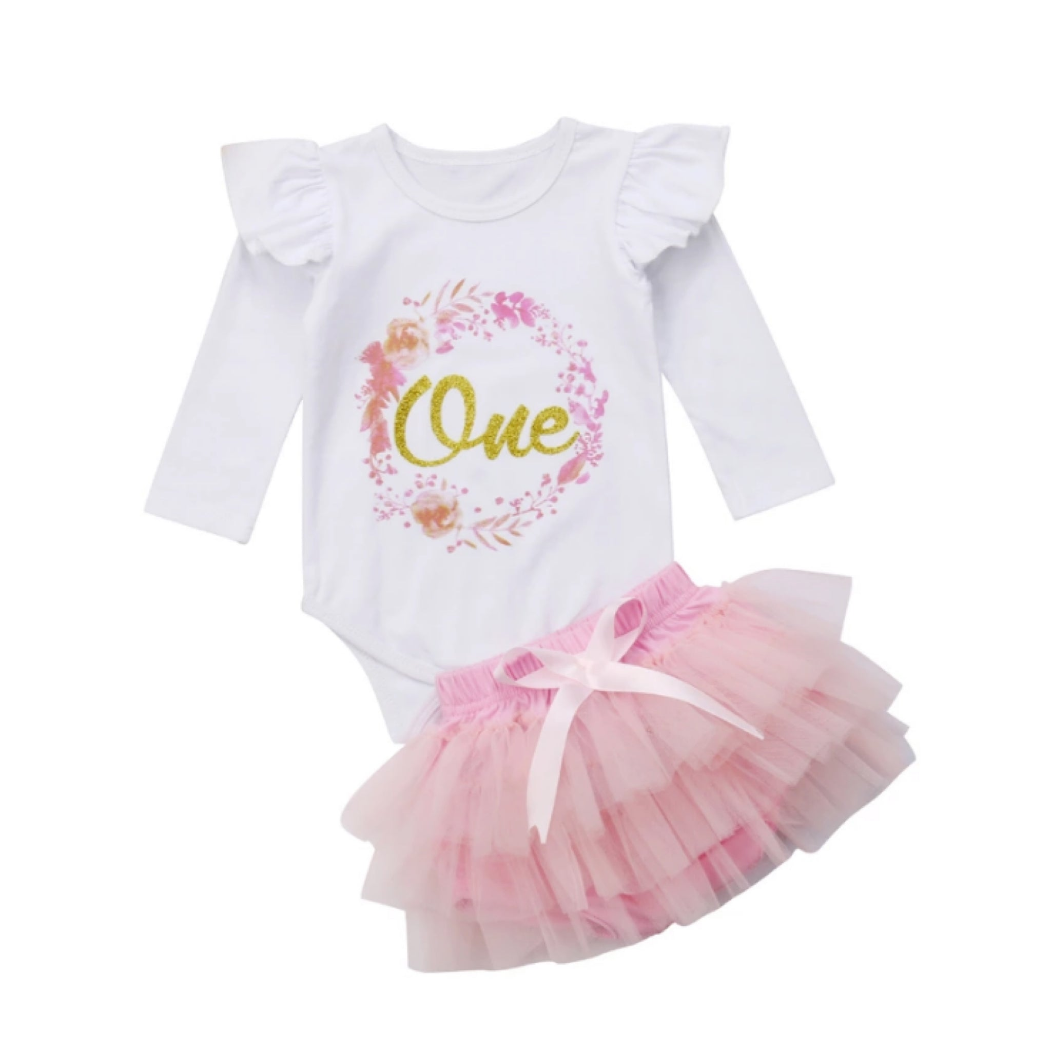 One Pink Birthday Tutu Set