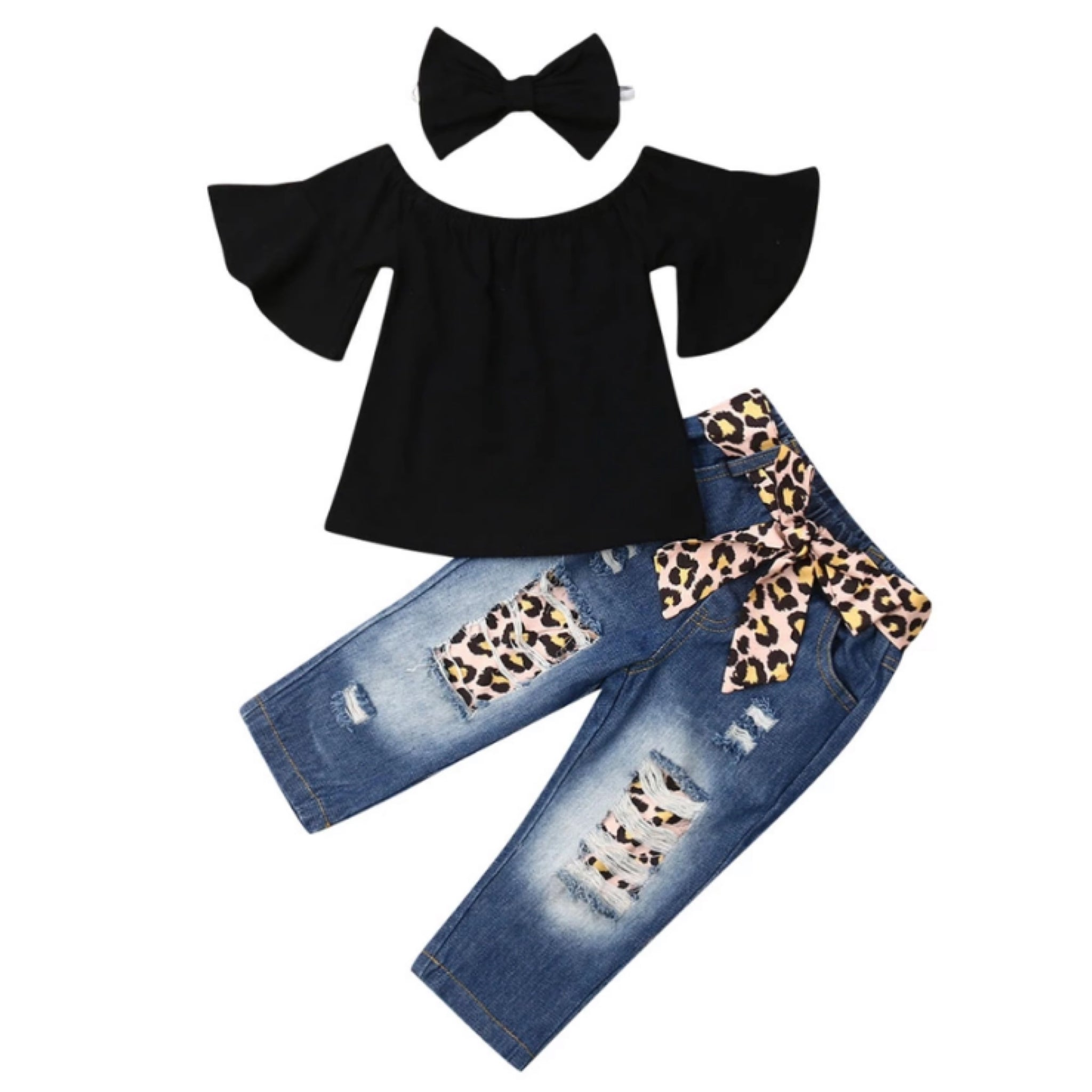 Black Denim Leopard Set