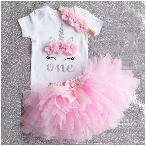 Pink Sleepy Unicorn Birthday Tutu Set