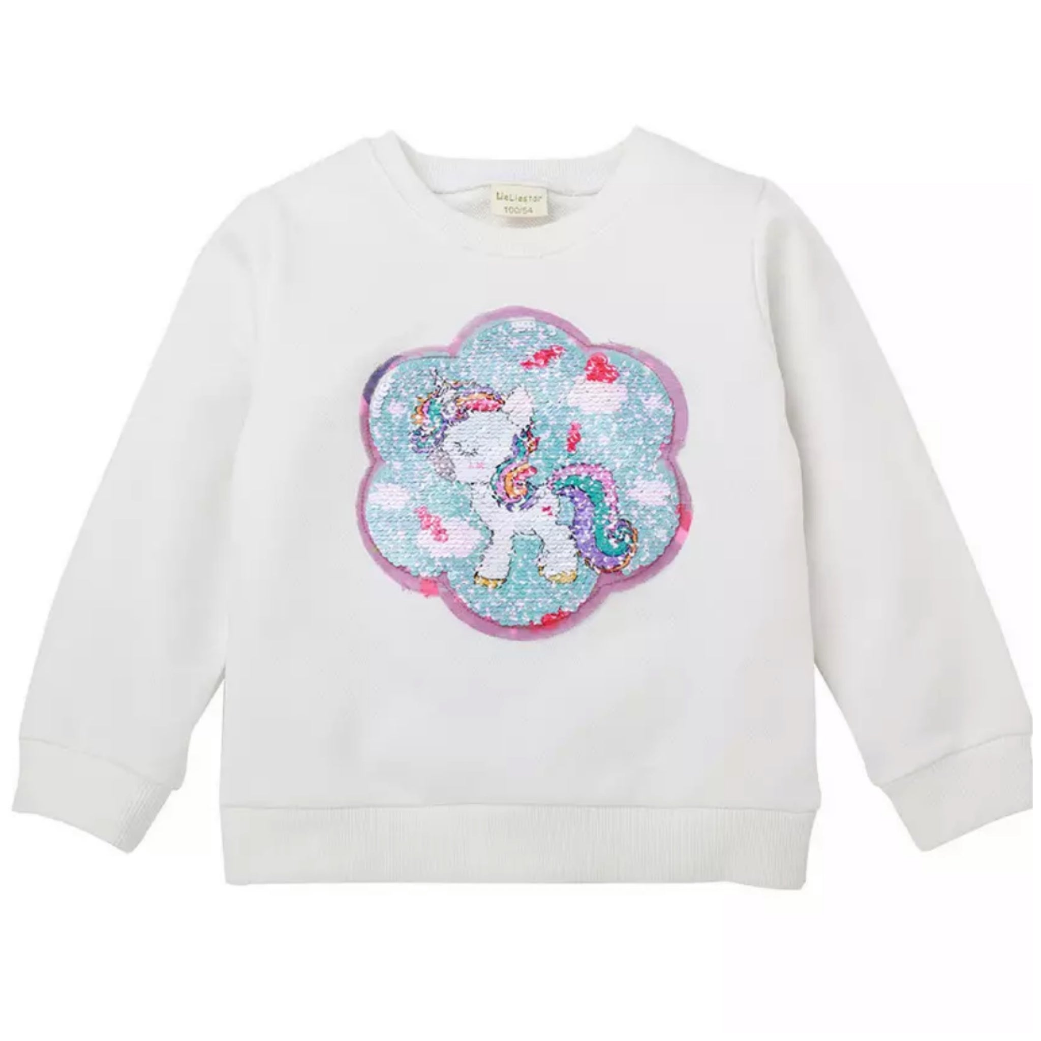 Sequinned Unicorn Top-White