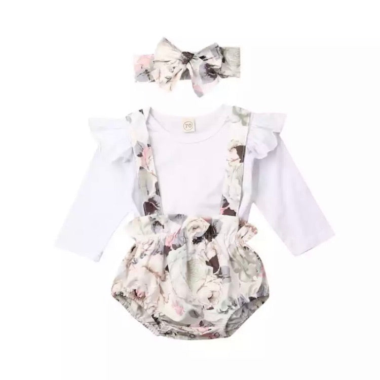Floral Suspender Bloomer Set